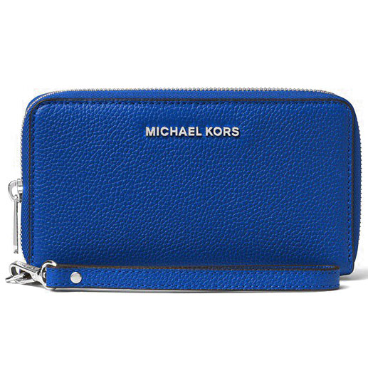 Michael Kors Mercer Large Flat Multifunctional Leather Phone Case Wristlet Electric Blue # 32F6SM9E3L