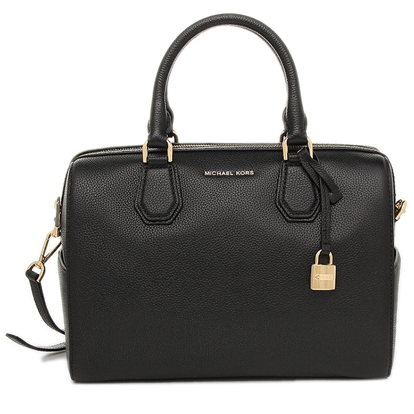Michael Kors Mercer Medium Leather Duffel Satchel Crossbody Bag Black # 30H6GM9U2L