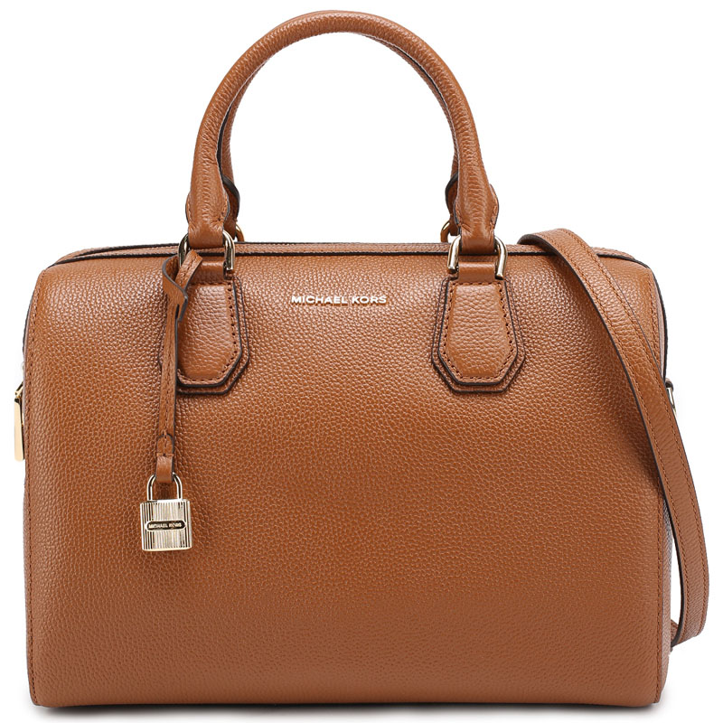 Michael Kors Mercer Medium Leather Duffel Satchel Crossbody Bag Luggage Brown # 30H6GM9U2L
