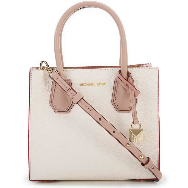 Michael Kors Mercer Medium Messenger Crossbody Bag Light Cream / Soft Pink / Fawn # 30S8GM9M0T