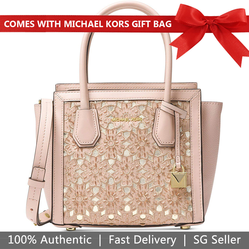 Michael Kors Mercer Messenger Leather Embroidered Tote Soft Pink # 30S8GY1M2Y