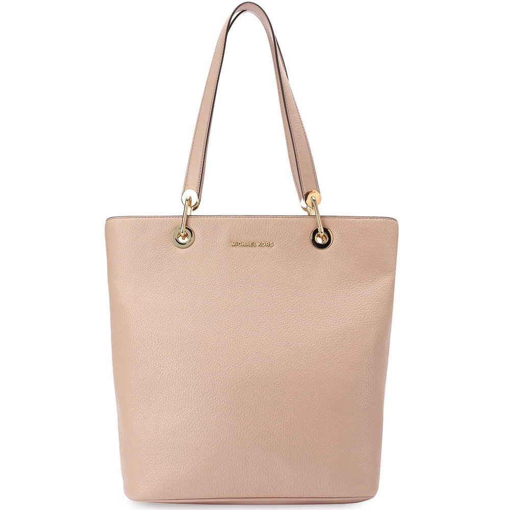 Michael Kors Raven Large North South Top Zip Leather Tote Oyster Nude Beige # 30S7GRXT3L
