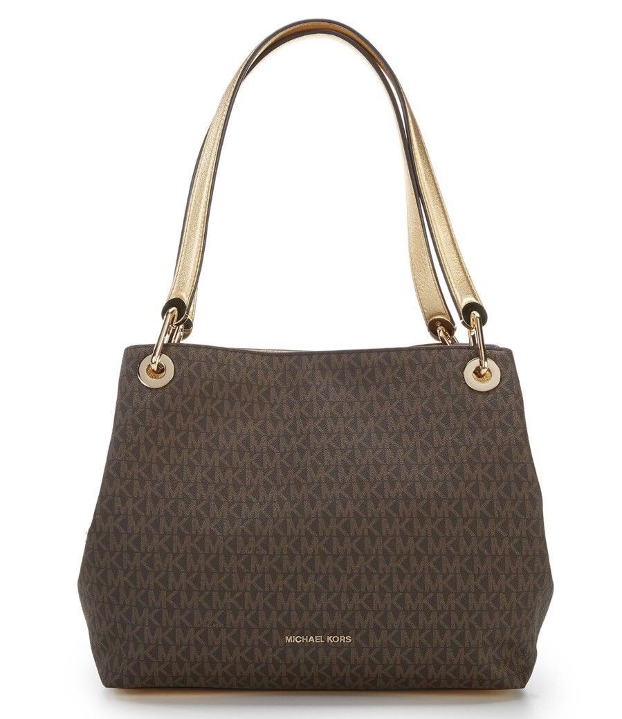Michael Kors Raven Large Shoulder Tote Bag Brown / Gold # 30H7MRXE3B