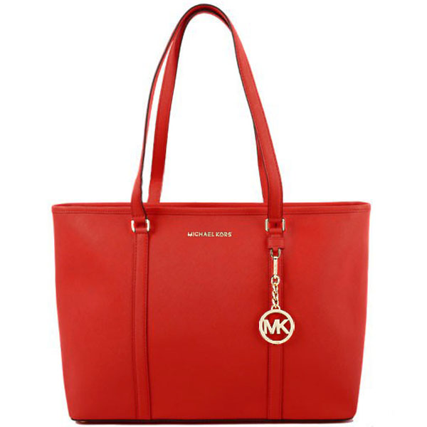 Michael Kors Sady Large Top Zip Leather Tote Cherry Red # 35T7GD4T7L