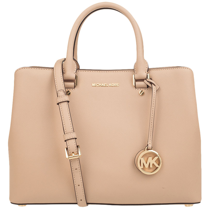 Michael Kors Savannah Large Saffiano Leather Satchel Crossbody Bag Oyster Beige Nude # 38T8GS7S3L