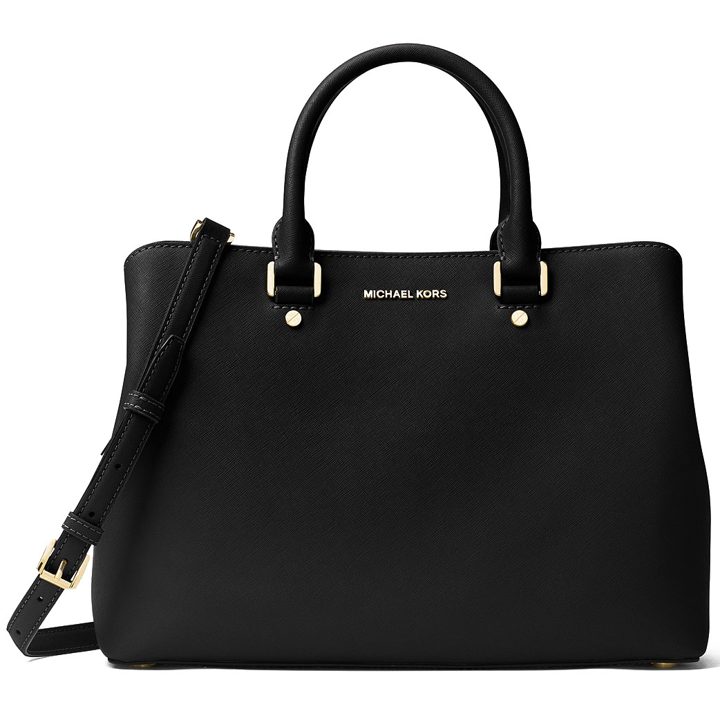 Michael Kors Savannah Large Saffiano Leather Satchel Black # 30S6GS7S3L