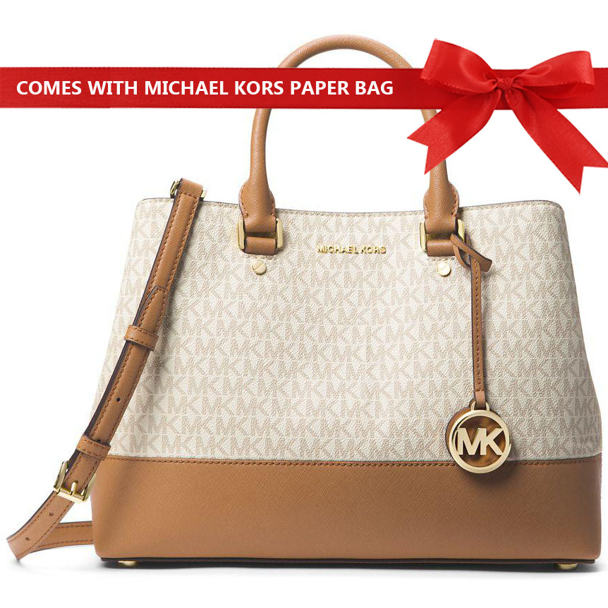 Michael Kors Savannah Large Satchel Crossbody Bag Vanilla White / Acorn Brown # 30H6GS7S8B