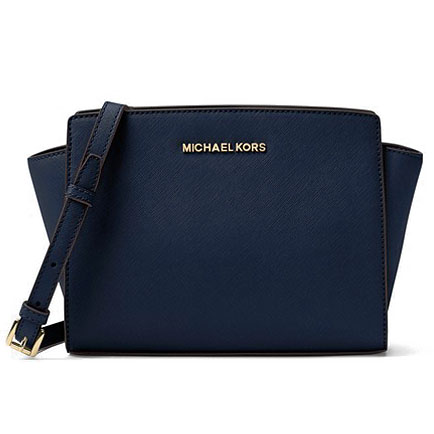 Michael Kors Selma Medium Messenger Leather Satchel Navy Blue # 30T3GLMM2L
