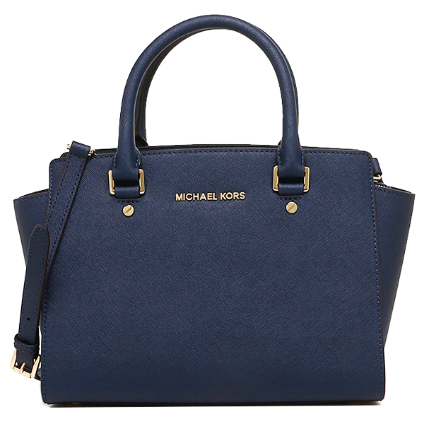 Michael Kors Selma Medium Top Zip Saffiano Leather Satchel Navy Blue # 30S3GLMS2L