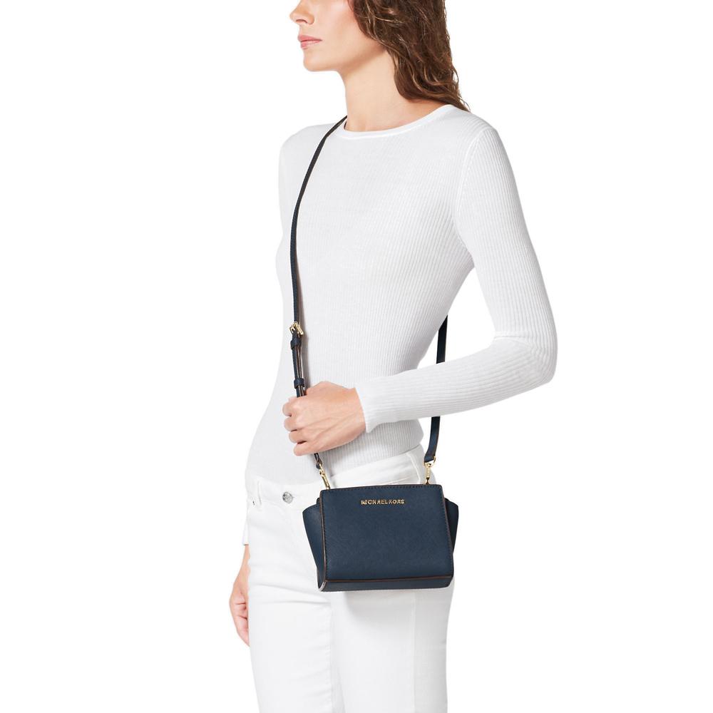 a28ca5130ba3 Michael Kors Selma Mini Saffiano Leather Crossbody Bag Navy Blue #  32H3GLMC1L