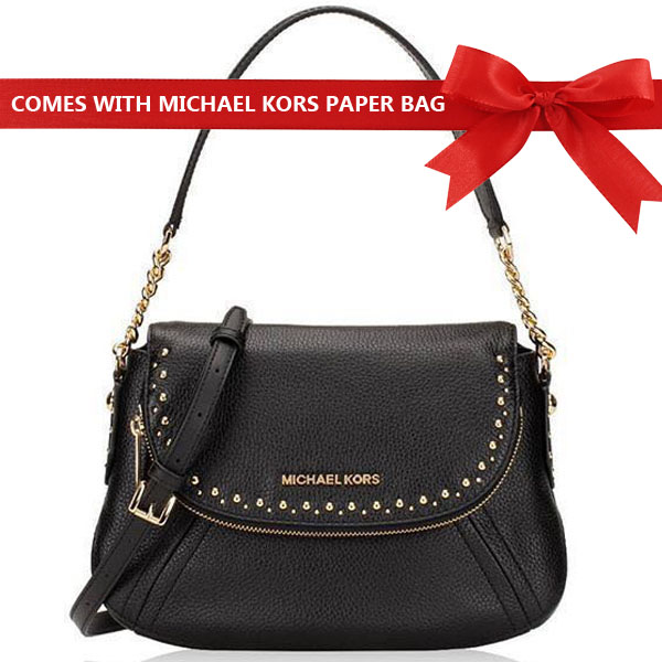 Michael Kors Shoulder Bag Aria Leather Studded Medium Convertible Shoulder Bag Black # 35T8GXAL2L