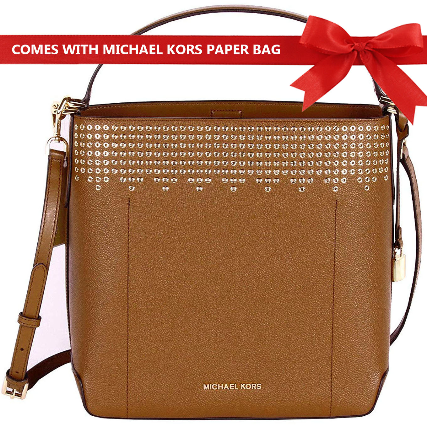 Michael Kors Shoulder Bag Crossbody Bag Hayes Large Bucket Studded Shoulder Bag Luggage Brown # 35F8GYEL3T