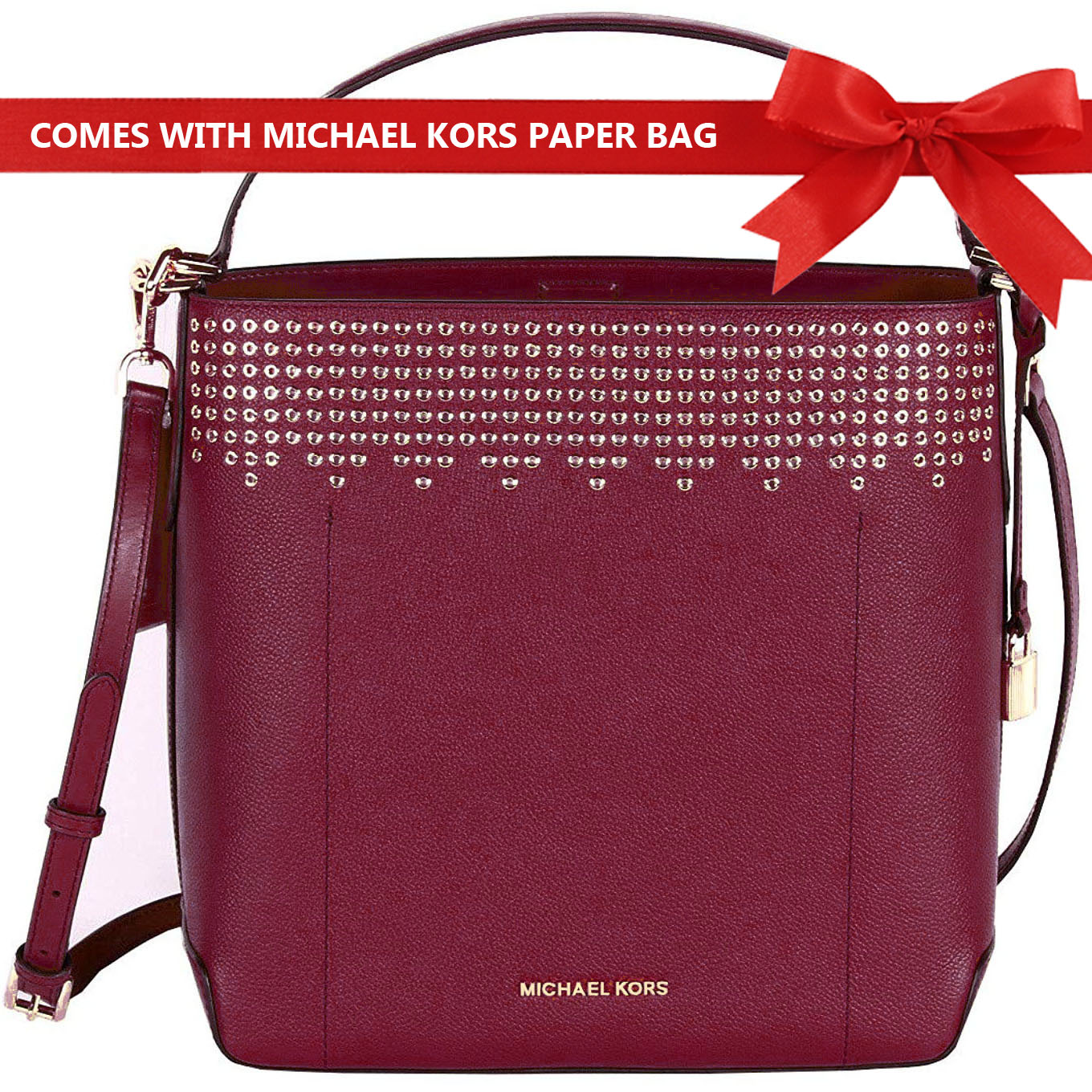 Michael Kors Shoulder Bag Crossbody Bag Hayes Large Bucket Studded Shoulder Bag Mulberry Red # 35F8GYEL3T