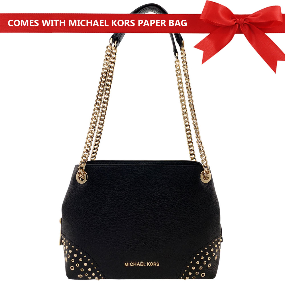 Michael Kors Shoulder Bag Jet Set Medium Chain Messenger Studded Leather Shoulder Bag Black # 35F8GTTM6L