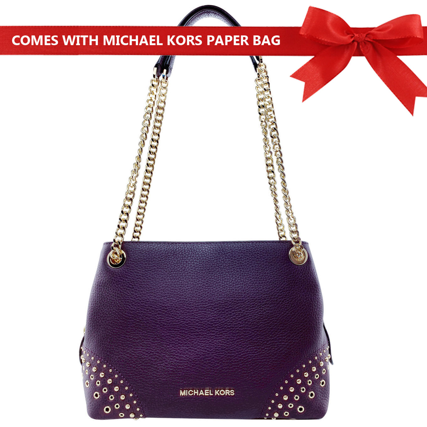 Michael Kors Shoulder Bag Jet Set Medium Chain Messenger Studded Leather Shoulder Bag Damson Purple # 35F8GTTM6L