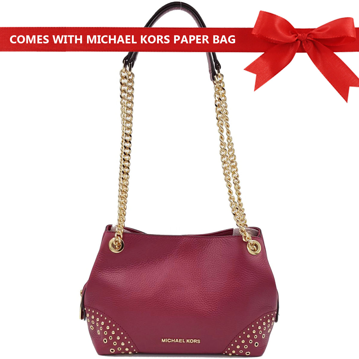 Michael Kors Shoulder Bag Jet Set Medium Chain Messenger Studded Leather Shoulder Bag Mulberry Red # 35F8GTTM6L