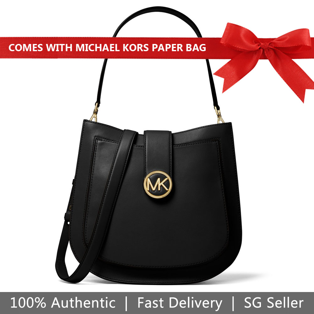 Michael Kors Shoulder Bag Lillie Large Hobo Messenger Black # 30F8G0LM3T