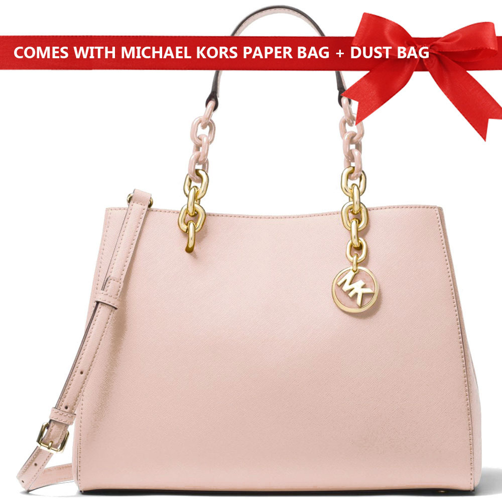 Michael Kors Shoulder Crossbody Bag Cynthia Saffiano Leather Satchel Soft Pink # 30F7GCYS2L