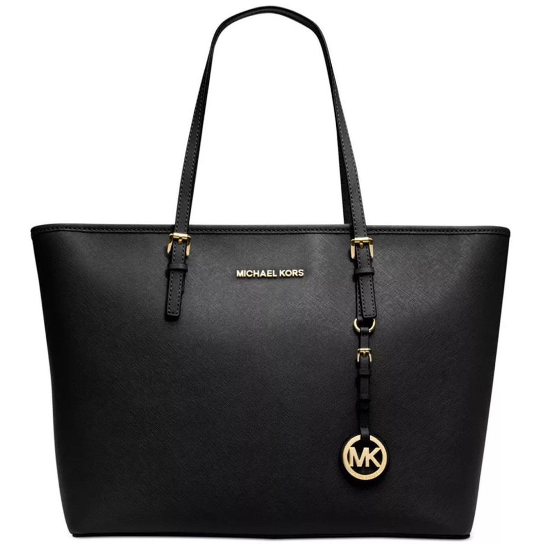 Michael Kors Small Jet Set Saffiano Leather Travel Tote Black # 8401B9