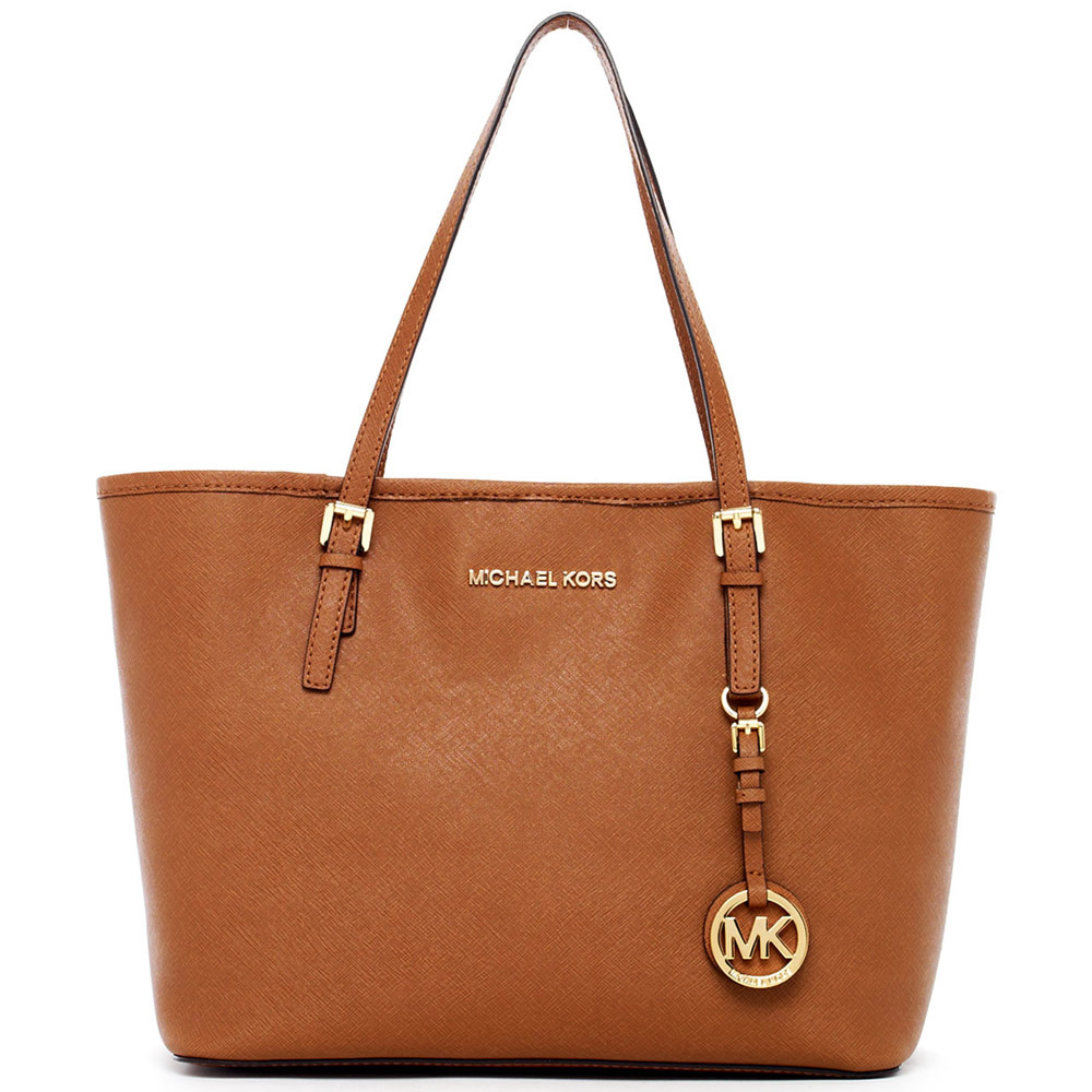 Michael Kors Small Jet Set Saffiano Leather Travel Tote Luggage Brown # 8401B5