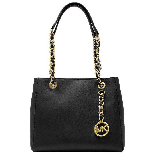 Michael Kors Susannah Medium North South Leather Tote Crossbody Bag Black # 35H7GAHT2L
