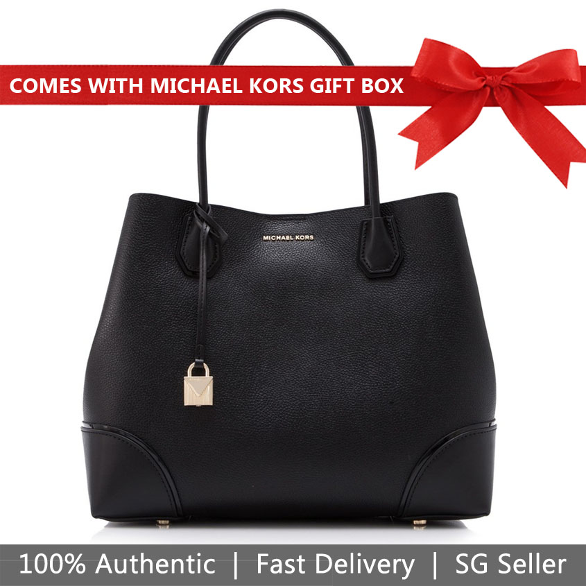 Michael Kors Tote In Gift Box Mercer Corner Kors Studio Large Center Leather Zip Tote Black # 30H7GZGT7A