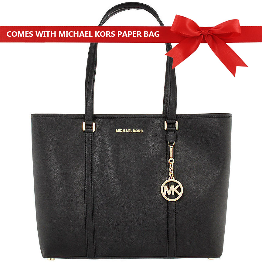 Michael Kors Tote Shoulder Bag Sady Large Top Zip Leather Tote Black # 35T7GD4T7L