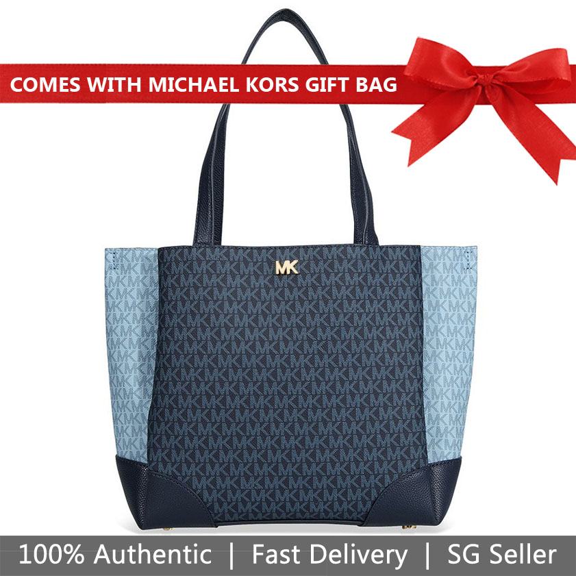 Michael Kors Tote With Gift Bag Gala Medium Tote Admiral Navy Dark Blue / Pale Blue # 30T8GKJT2B