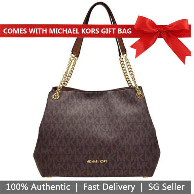 Michael Kors Tote With Gift Bag Jet Set Large Chain Chain Shoulder Bag Tote Brown / Luggage # 35H7GTTE3B