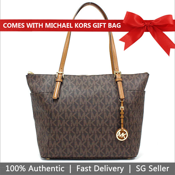06c85911c527 Michael Kors Tote With Gift Bag Jet Set Large East West Top Zip Tote  Shoulder Bag