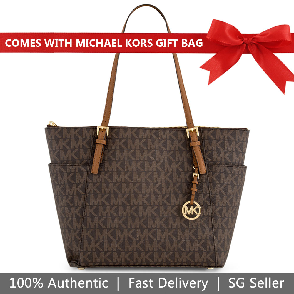 Michael Kors Tote With Gift Bag Jet Set Large East West Top Zip Tote Shoulder Bag Brown / Luggage # 35H7GTTT9B