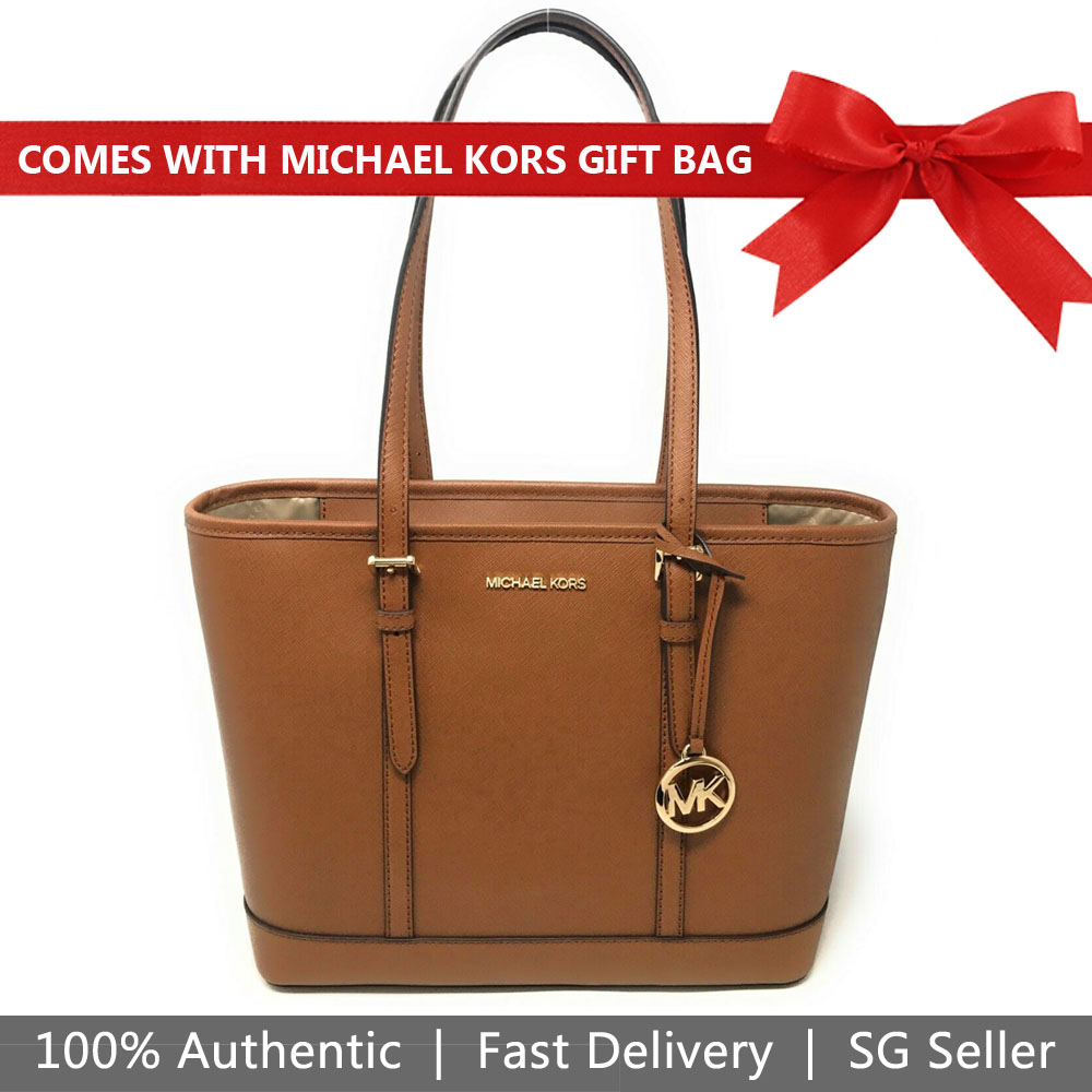 Michael Kors Tote With Gift Bag Jet Set Travel Small Zip Top Tote Shoulder Bag Luggage Brown # 35S0GTVT1L