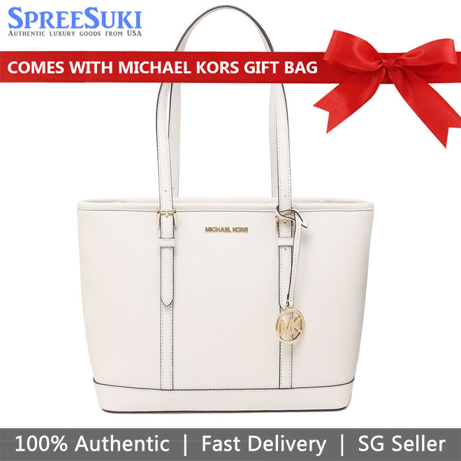 Michael Kors Tote With Gift Bag Jet Set Travel Small Zip Top Tote Shoulder Bag Optic White # 35S0GTVT1L