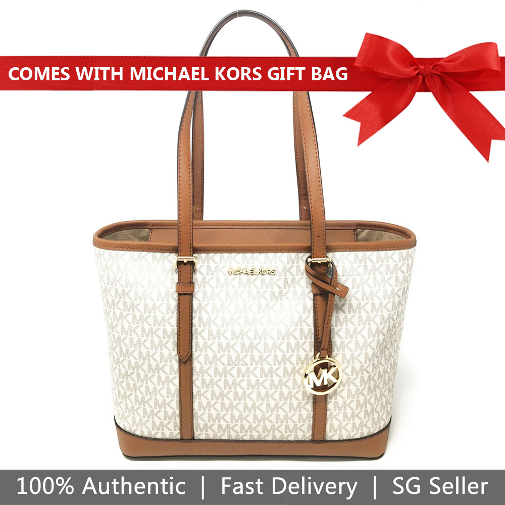 Michael Kors Tote With Gift Bag Jet Set Travel Small Zip Top Tote Shoulder Bag Signature Vanilla Off White Acorn Brown # 35S0GTVT1V
