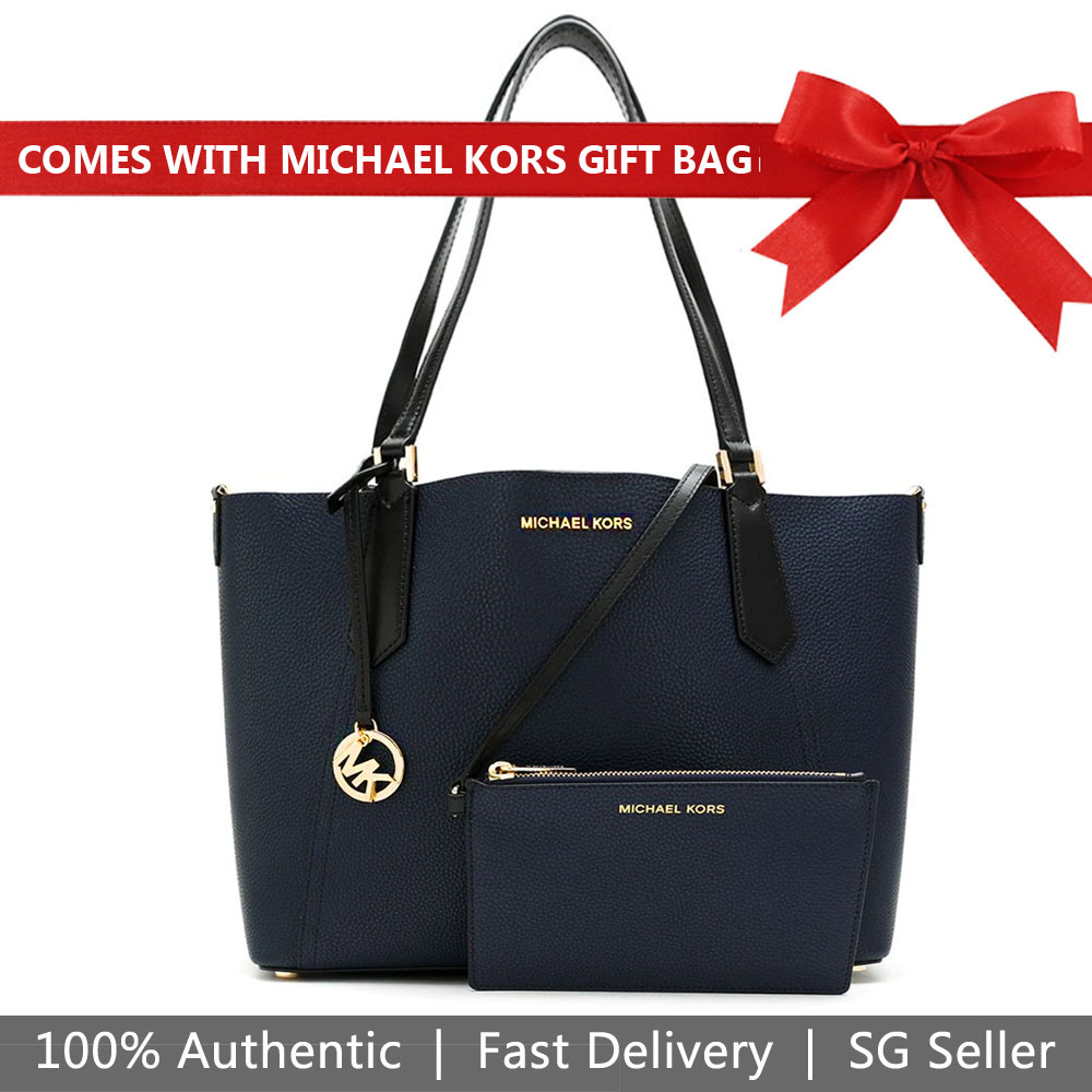 Michael Kors Tote With Gift Bag Kimberly Grab Bag Navy / Black # 35H8GKFT3T