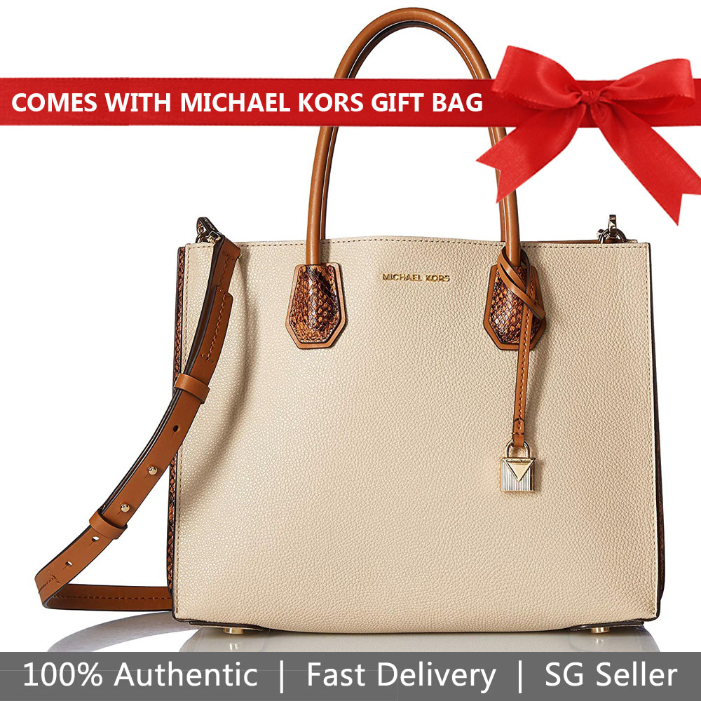 Michael Kors Tote With Gift Bag Mercer Kors Studio Large Accordion Convertible Leather Tote Crossbody Bag Oat Beige Brown # 30F8GM9T3L