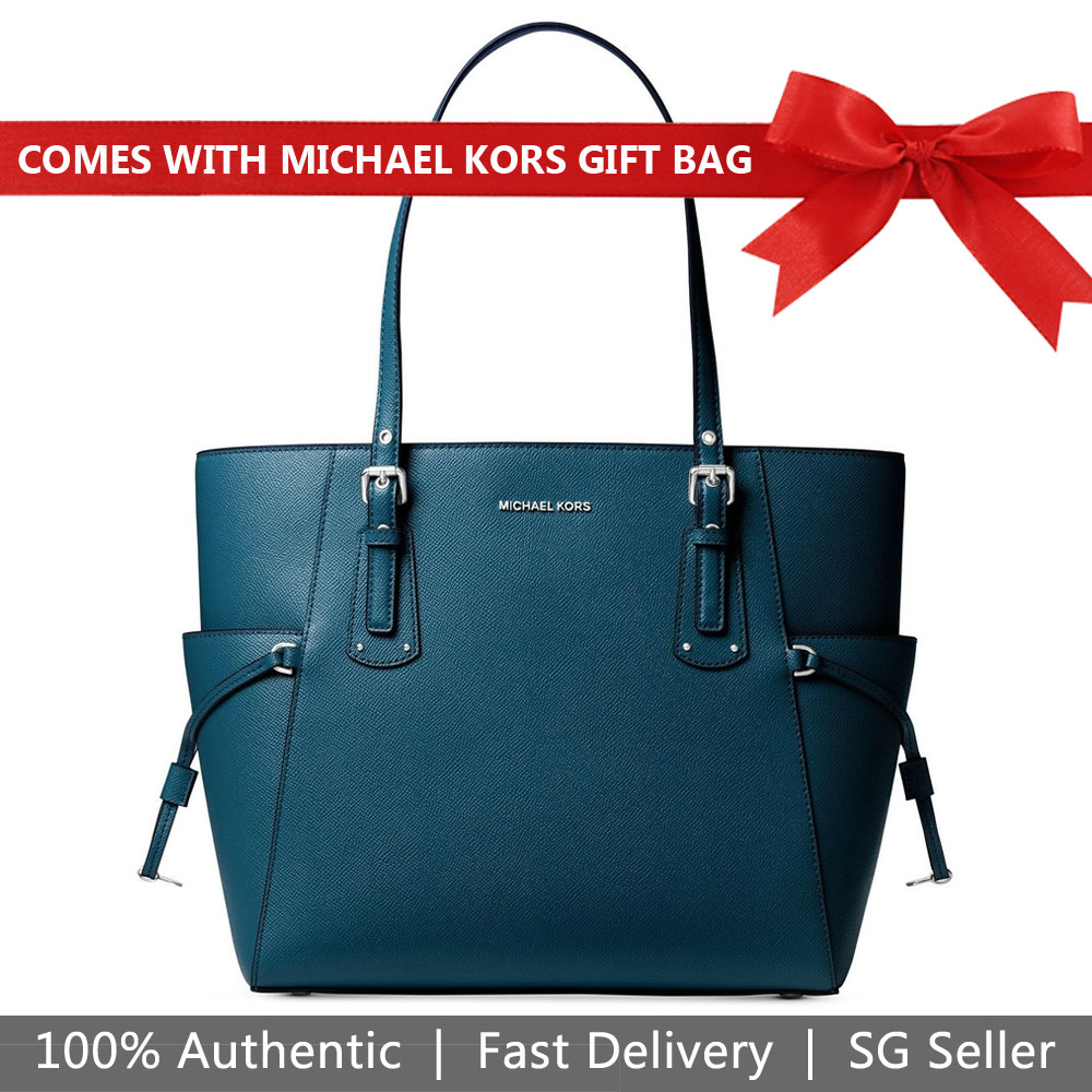 Michael Kors Tote With Gift Bag Voyager Large East West Tote Shoulder Bag Luxe Teal Green # 30F8SV6T4L
