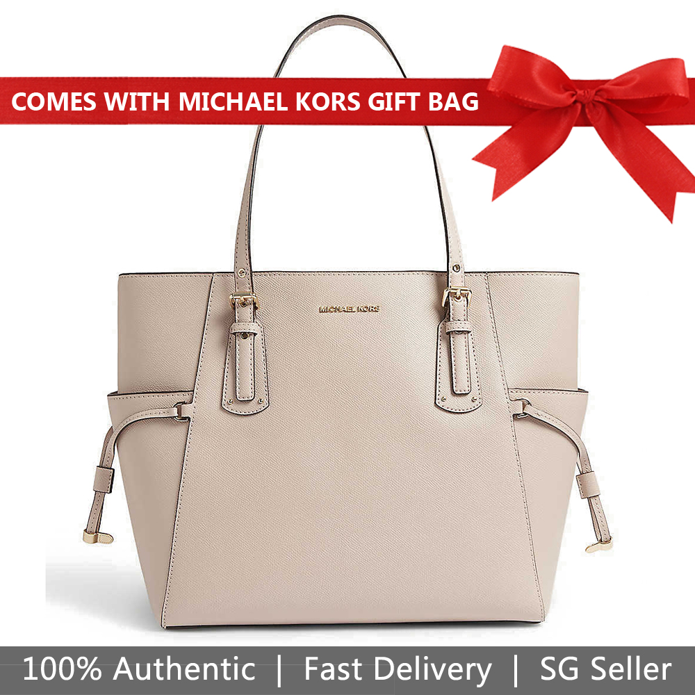 Michael Kors Tote With Gift Bag Voyager Leather Tote Shoulder Bag Oat Beige Nude # 30F8TV6T4L