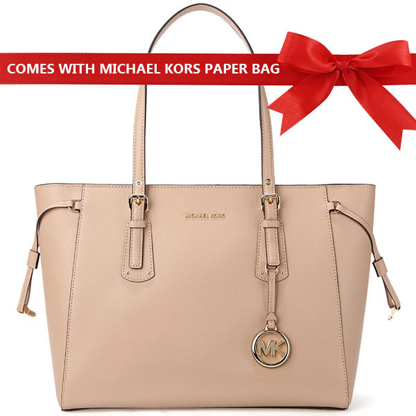 Michael Kors Voyager Medium Multifunctional Top Zip Shoulder Tote Oyster Beige Nude # 30H7GV6T8L
