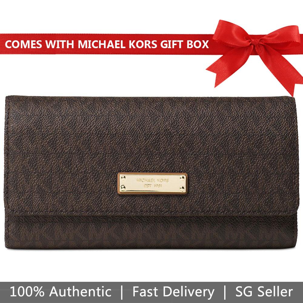 9b353358e7329f Michael Kors Wallet In Gift Box Jet Set Checkbook Wallet Brown # 32S7GJSE4B
