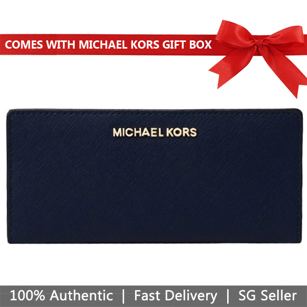 Michael Kors Wallet In Gift Box Jet Set Travel Large Card Case Carryall Wallet Navy Dark Blue / Pale Blue # 35H8GTVD3T