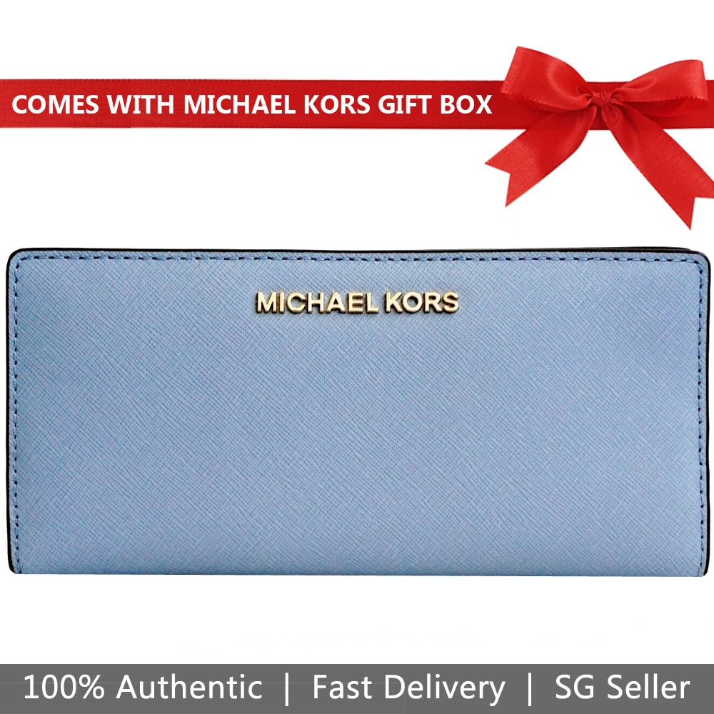 Michael Kors Wallet In Gift Box Jet Set Travel Large Card Case Carryall Wallet Pale Blue / Navy Dark Blue # 35H8GTVD3T