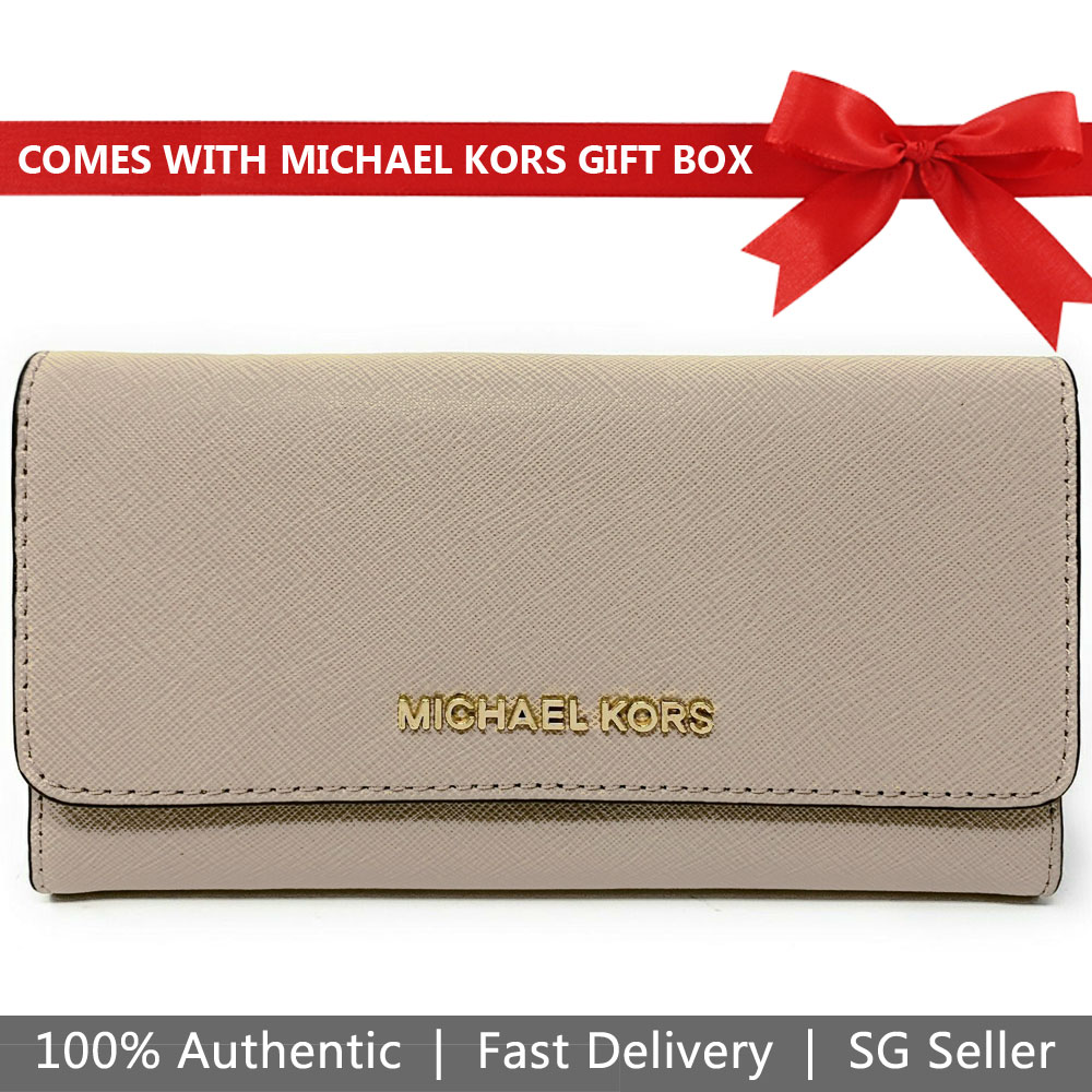 Michael Kors Wallet In Gift Box Large Trifold Wallet Bisque Beige Nude # 35S8GTVF7L