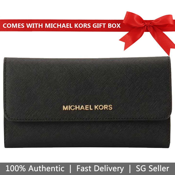 Michael Kors Wallet In Gift Box Large Trifold Wallet Black # 35S8GTVF7L