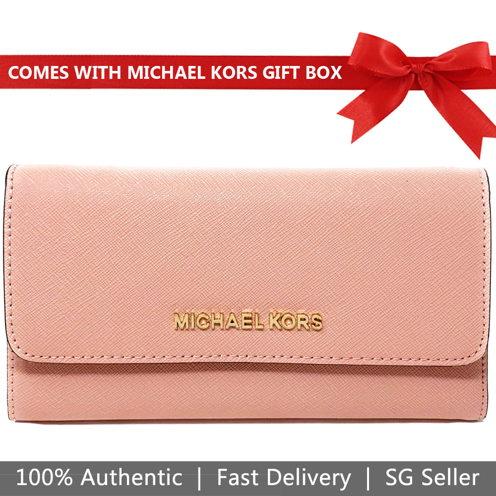 Michael Kors Wallet In Gift Box Large Trifold Wallet Pale Pink # 35S8GTVF7L