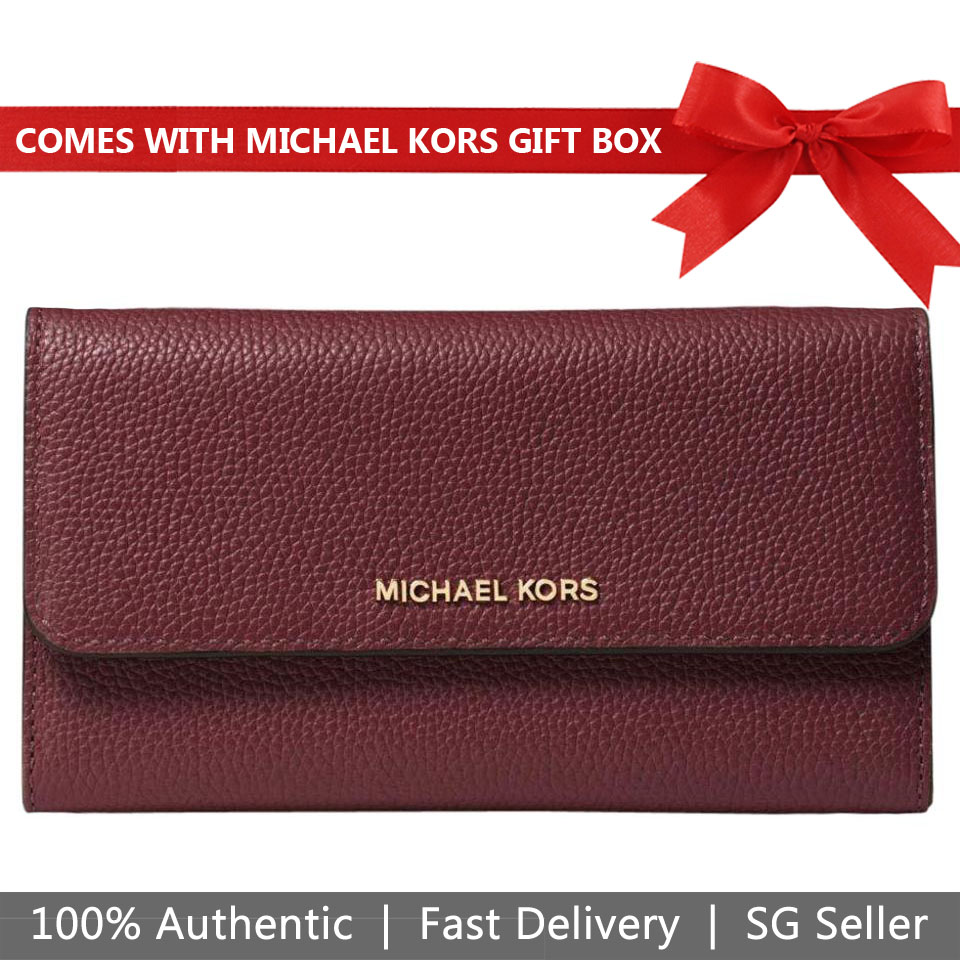 Michael Kors Wallet In Gift Box Mercer Leather Wallet Oxblood Dark Red # 32H6GM9F3L