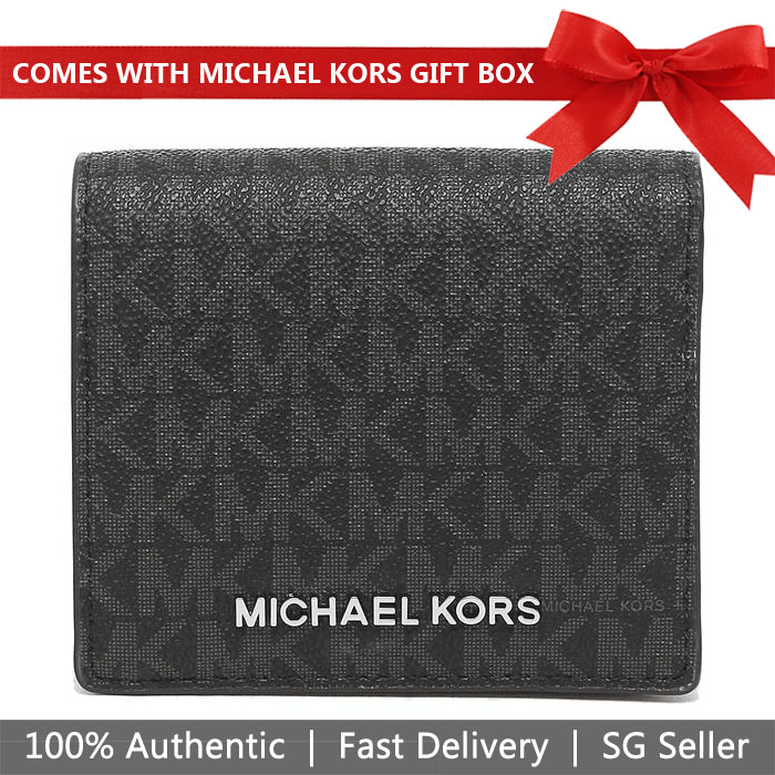 Michael Kors Wallet In Gift Box Small Wallet Jet Set Travel Md Carryall Card Case Black Signature / Silver # 35S9STVD2B