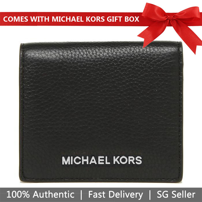 Michael Kors Wallet In Gift Box Small Wallet Jet Set Travel Md Carryall Card Case Black / Silver # 35H8GTVD2L