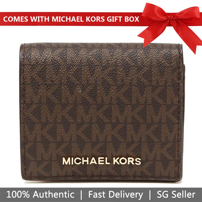 Michael Kors Wallet In Gift Box Small Wallet Jet Set Travel Md Carryall Card Case Brown Signature / Gold # 35F8GTVD2B