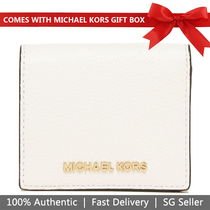 Michael Kors Wallet In Gift Box Small Wallet Jet Set Travel Md Carryall Card Case Optic White / Gold # 35H8GTVD2L